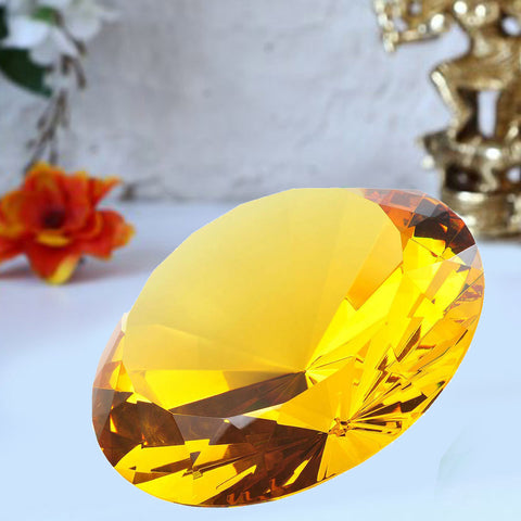 Divya Mantra Feng Shui Crystal Dimond in Yellow For Healing - Divya Mantra