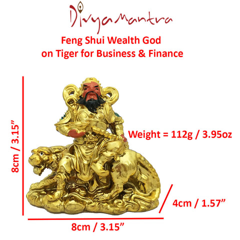 Divya Mantra Feng Shui Military Wealth God on Tiger Holding
