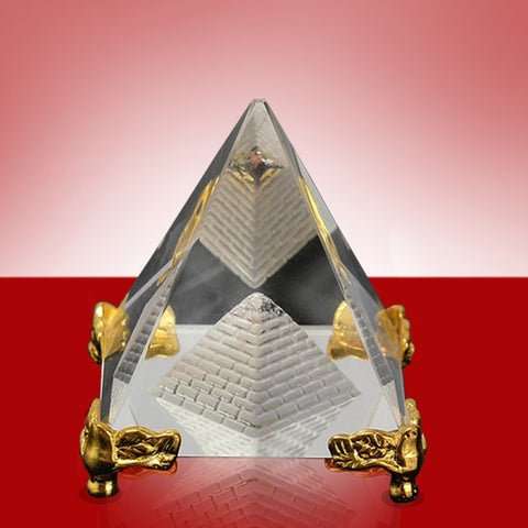 Divya Mantra Feng Shui Crystal Glass Pyramid with Golden Stand For Spiritual Healing, Vastu Correction and Balancing - 6 cm - Divya Mantra
