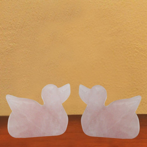 Divya Mantra Feng Shui Rose Quartz Mandarin Ducks for Love & Relationship - Divya Mantra