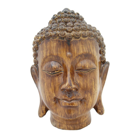 Divya Mantra Meditating Buddha Head in Wooden Finish - Divya Mantra