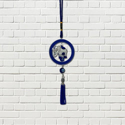 Divya Mantra Car Decoration Rear View Mirror Hanging Accessories Evil Eye with Elephant in Ring Protection Amulet - Divya Mantra