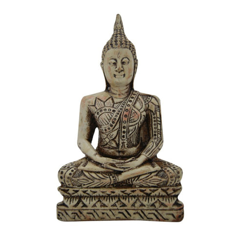 Divya Mantra Peaceful Meditating Buddha in Antique White Finish - Divya Mantra