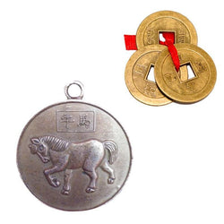Divya Mantra Combo Of Chinese Zodiac Sign Horse Pendant And Three Chinese Lucky Coins - Divya Mantra