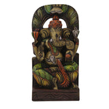 Divya Mantra Wall Decor Hand Carved Single Piece Wooden Lord Ganesha - Divya Mantra