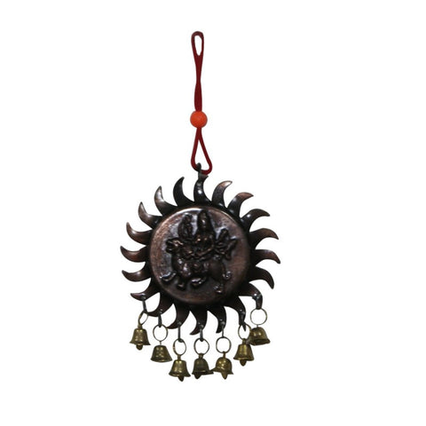 Divya Mantra Sri Vastu Durga Talisman Gift Pendant Amulet for Car Rear View Mirror Decor Ornament Accessories/Good Luck Charm Protection Interior Wall Hanging with Bells Showpiece - Divya Mantra