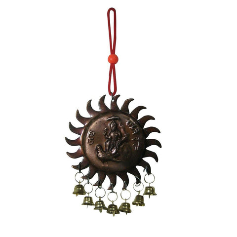 Divya Mantra Sri Vastu Shani Talisman Gift Pendant Amulet for Car Rear View Mirror Decor Ornament Accessories/Good Luck Charm Protection Interior Wall Hanging with Bells Showpiece - Divya Mantra