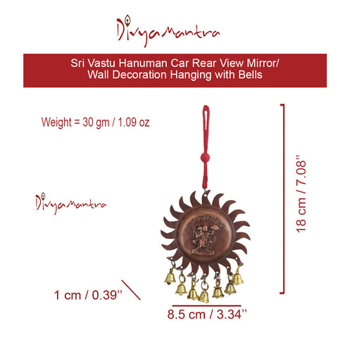 Divya Mantra Sri Vastu Hanuman Talisman Gift Pendant Amulet for Car Rear View Mirror Decor Ornament Accessories/Good Luck Charm Protection Interior Wall Hanging with Bells Showpiece - Divya Mantra