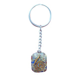 Divya Mantra Orgone Energy Round Rectangle 7 Chakra Keychain - Divya Mantra