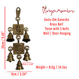 Divya Mantra Hindu Lucky Auspicious Symbol Vastu Om Ganesha Pure Brass Toran with 5 Bells Talisman Gift Amulet for Door Home Decor Ornament /Good Luck Charm Protection Interior Wall Hanging Showpiece for Prosperity
