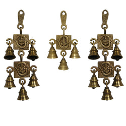 Divya Mantra Hindu Lucky Auspicious Symbol Vastu Om Ganesha Pure Brass Toran with  Bells 5-3-5 Set Talisman Gift Amulet for Door Home Decor Ornament /Good Luck Charm Protection Interior Wall Hanging Showpiece for Prosperity