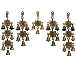 Divya Mantra Hindu Lucky Auspicious Symbol Vastu Om Ganesha Pure Brass Toran with  Bells 7-5-3-5-7 Set Talisman Gift Amulet for Door Home Decor Ornament /Good Luck Charm Protection Interior Wall Hanging Showpiece for Prosperity