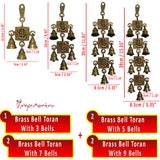 Divya Mantra Hindu Lucky Auspicious Symbol Vastu Om Ganesha Bells Pure Brass Buri Nazar Battu Decor Gift Accessories/Good Luck Charm Interior Home/Office/Door/Wall Hanging Toran Bandanwar Showpiece - Divya Mantra