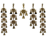 Divya Mantra Hindu Lucky Auspicious Symbol Vastu Om Ganesha Pure Brass Toran with  Bells 11-7-3-7-11 Set Talisman Gift Amulet for Door Home Decor Ornament /Good Luck Charm Protection Interior Wall Hanging Showpiece for Prosperity