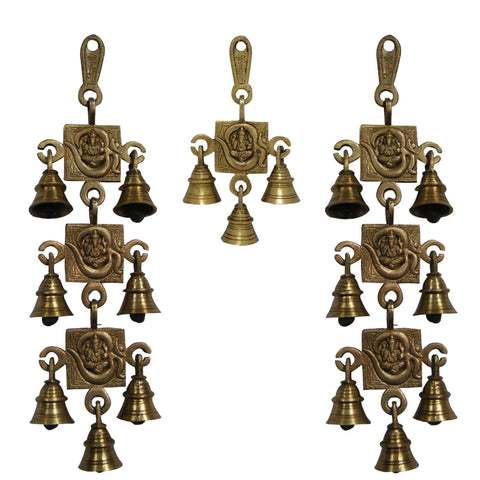 Divya Mantra Hindu Lucky Auspicious Symbol Vastu Om Ganesha Pure Brass Toran with  Bells 7-3-7 Set Talisman Gift Amulet for Door Home Decor Ornament /Good Luck Charm Protection Interior Wall Hanging Showpiece for Prosperity
