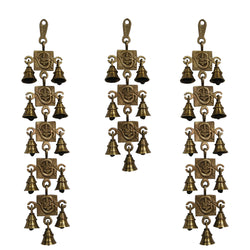 Divya Mantra Hindu Lucky Auspicious Symbol Vastu Om Ganesha Pure Brass Toran with  Bells 11-7-11 Set Talisman Gift Amulet for Door Home Decor Ornament /Good Luck Charm Protection Interior Wall Hanging Showpiece for Prosperity