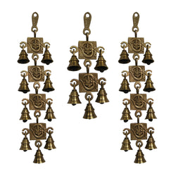 Divya Mantra Hindu Lucky Auspicious Symbol Vastu Om Ganesha Pure Brass Toran with  Bells 9-5-9 Set Talisman Gift Amulet for Door Home Decor Ornament /Good Luck Charm Protection Interior Wall Hanging Showpiece for Prosperity