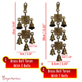Divya Mantra Hindu Lucky Auspicious Symbol Vastu Om Ganesha Pure Brass Toran with  Bells 7-5-7 Set Talisman Gift Amulet for Door Home Decor Ornament /Good Luck Charm Protection Interior Wall Hanging Showpiece for Prosperity