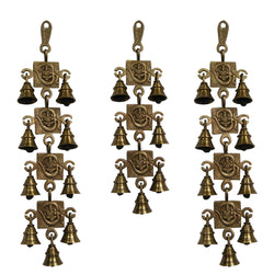 Divya Mantra Hindu Lucky Auspicious Symbol Vastu Om Ganesha Pure Brass Toran with  Bells 9-7-9 Set Talisman Gift Amulet for Door Home Decor Ornament /Good Luck Charm Protection Interior Wall Hanging Showpiece for Prosperity
