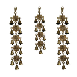 Divya Mantra Hindu Lucky Auspicious Symbol Vastu Om Ganesha Pure Brass Toran with  Bells 11-9-11 Set Talisman Gift Amulet for Door Home Decor Ornament /Good Luck Charm Protection Interior Wall Hanging Showpiece for Prosperity