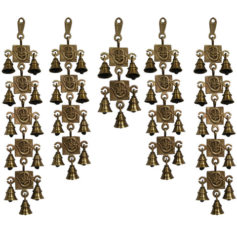 Divya Mantra Hindu Lucky Auspicious Symbol Vastu Om Ganesha Pure Brass Toran with  Bells 11-9-5-9-11 Set Talisman Gift Amulet for Door Home Decor Ornament /Good Luck Charm Protection Interior Wall Hanging Showpiece for Prosperity