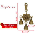 Divya Mantra Hindu Lucky Auspicious Symbol Vastu Om Ganesha Pure Brass Toran with 3 Bells Talisman Gift Amulet for Door Home Decor Ornament /Good Luck Charm Protection Interior Wall Hanging Showpiece for Prosperity - Set of 3