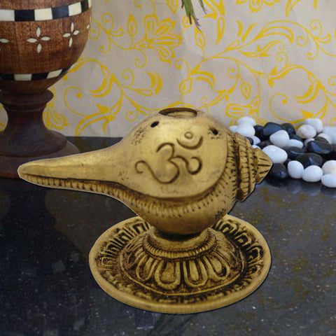 Divya Mantra Shankh Shaped Agarbatti and Dhoop Stand Pure Brass - Divya Mantra