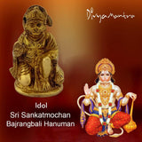 Aaradhi Divya Mantra Hindu God Sri Sankatmochan Bajrangbali Hanuman Idol Sculpture Statue Murti Puja, Meditation, Office, Business, Home Decor Gift Collection Item/ Product- Money, Good Luck- Yellow - Divya Mantra