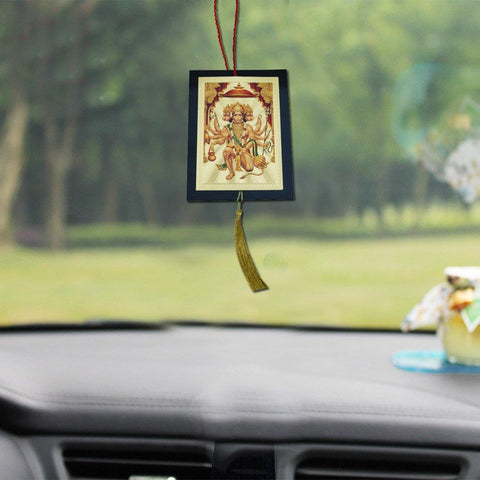 Divya Mantra Car Decoration Rear View Mirror Hanging Accessories Panchmukhi Hanuman - Divya Mantra