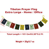 Divya Mantra Tibetan Prayer Flags, Wind Outdoor Flags, Car Jewelry Decor Accessories Flag Decorations, Buddhist Items Om Mani Padme Hum Peace Sign Wall Flag, Hanging For Car / Home 5.2 Ft - Multicolor