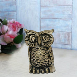 Divya Mantra Big Metallic Feng Shui Owl Statue Showpiece - Divya Mantra