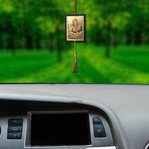 Divya Mantra Sri Mahadev Talisman Gift Pendant Amulet for Car Rear View Mirror Decor Ornament Accessories/Good Luck Charm Protection Interior Wall Hanging Showpiece - Divya Mantra