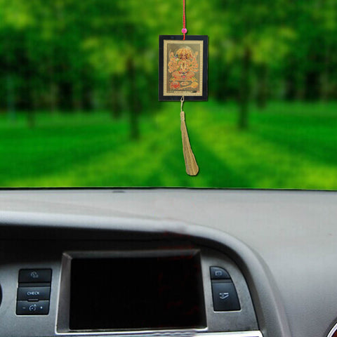 Divya Mantra Sri Panchmukhi Hanuman Talisman Gift Pendant Amulet for Car Rear View Mirror Decor Ornament Accessories/Good Luck Charm Protection Interior Wall Hanging Showpiece - Divya Mantra