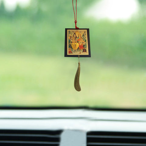 Divya Mantra Shri Shiv Parivar Talisman Gift Pendant Amulet for Car Rear View Mirror Decor Ornament Accessories/Good Luck Charm Protection Interior Wall Hanging Showpiece - Divya Mantra