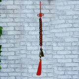 Divya Mantra Set of Three Feng Shui 12 Coins Bell Hanging With Red Strings For Good Fortune