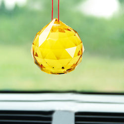 Divya Mantra Yellow Crystal Ball Sun catcher Car / Wall Hanging - Divya Mantra