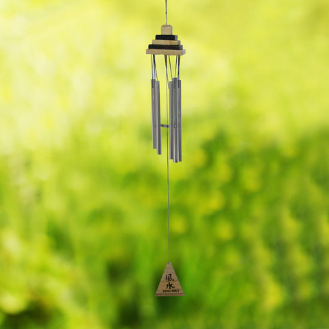 Divya Mantra Feng Shui Wooden Pyramid 5 Pipe Silver Wind Chime - Divya Mantra