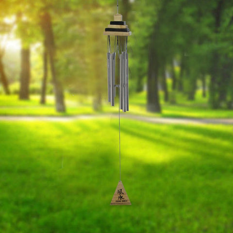 Divya Mantra Feng Shui Wooden Pyramid 6 Pipe Silver Wind Chime - Divya Mantra