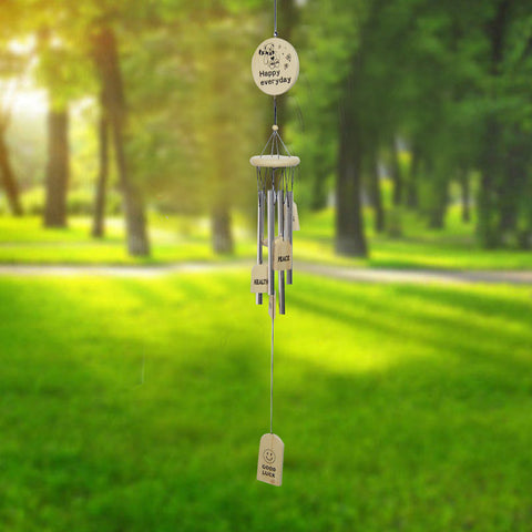 Divya Mantra Feng Shui Wooden 4 Silver Pipe Happy Everyday Wind Chime - Divya Mantra