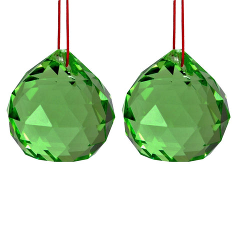 Divya Mantra Set Of Two Green Feng Shui Crystal Rainbow Suncatcher Hanging - Divya Mantra