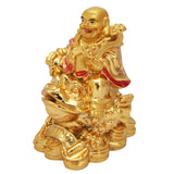 Divya Mantra Feng Shui Laughing Buddha Sitting On Money Frog - Divya Mantra