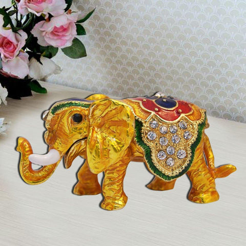 Divya Mantra Bejeweled Feng Shui Elephant Trunk Down For Wish Fulfillment - Divya Mantra