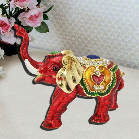 Divya Mantra Bejeweled Feng Shui Elephant Trunk Up For Wish Fulfillment - Divya Mantra