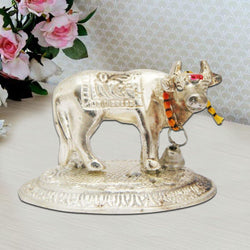 Divya Mantra Hindu Sri Kamdhenu Gayatri Wish Fulfilling Holy Cow with Calf Statue Decor Health Wealth Good Luck Happiness; Interior Living Room / Decoration Showpiece For Home / Office Showpiece Gift - Divya Mantra
