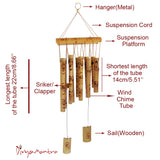 Divya Mantra Feng Shui Bamboo Wind Chime with 10 Pipe Soothing Natural Unique Good Luck Decoration Outdoor Garden Patio Balcony Yard Home Window Eco Friendly Hanging Decor Showpiece Vastu Item -Yellow - Divya Mantra
