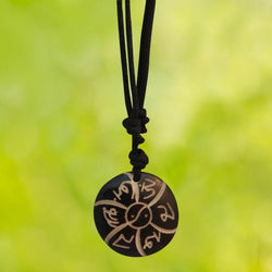Divya Mantra Chinese Feng Shui Om Mani Padme Hum Amulet Thread Necklace Jewellery/Tibetan Buddhist Mantra Plastic Pendant Necklet for Good Luck Charm & Protection – Black - Divya Mantra