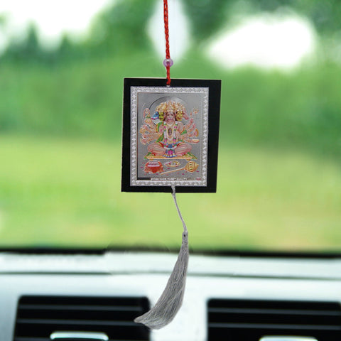 Divya Mantra Sri Shri Pancha Mukhi Hanuman Talisman Gift Pendant Amulet for Car Rear View Mirror Decor Ornament Accessories/Good Luck Charm Protection Interior Wall Hanging Showpiece - Divya Mantra
