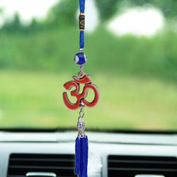 Divya Mantra Decorative Evil Eye Om Pendant Amulet for Car Rear View Mirror Decor Ornament Accessories/Good Luck Charm Protection Interior Wall Hanging Showpiece - Divya Mantra