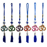 Divya Mantra Decorative Evil Eye Om Pendant Amulet for Car Rear View Mirror Decor Ornament Accessories/Good Luck Charm Protection Interior Wall Hanging Showpiece - Multicolor, Set of 2 - Divya Mantra