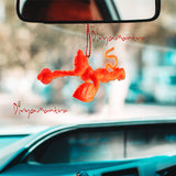 Divya Mantra Sri Bajrang Bali Bajrangi Orange Flying Hanuman Talisman Gift Pendant Amulet for Car Rear View Mirror Decor Ornament Accessories/Good Luck Charm Protection Interior Wall Hanging Showpiece - Divya Mantra
